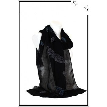 Foulard - Plume - Strass - Fond noir