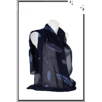Foulard - Plume - Strass - Fond bleu marine