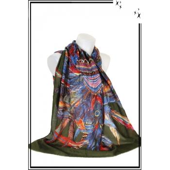 Foulard - Coiffe indienne - Paillettes - Kaki