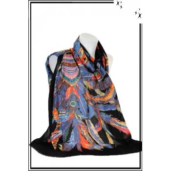 Foulard - Coiffe indienne - Paillettes - noir