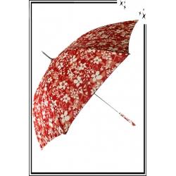 Parapluie - Canne - Fleurs - Rouge / Blanc