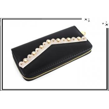 Porte-monnaie - Double compartiments - Liseré - Perles - Noir