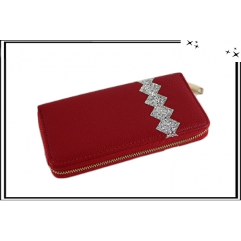 Porte-monnaie - Double compartiments - Strass - Rouge / Argent