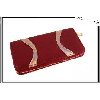 Porte-monnaie - Double compartiments - Vagues brillantes - Rouge