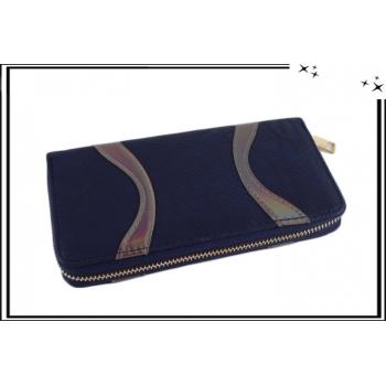 Porte-monnaie - Double compartiments - Vagues brillantes - Bleu marine