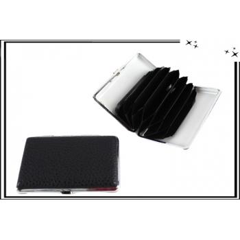 Porte-cartes - Rigide - 6 compartiments - Effet cuir - Noir
