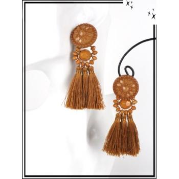 Boucles d'oreilles - Résine - Perles - Pompons - Camel