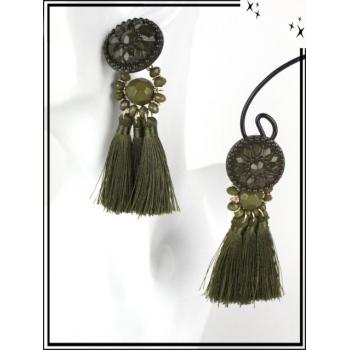 Boucles d'oreilles - Résine - Perles - Pompons - Kaki