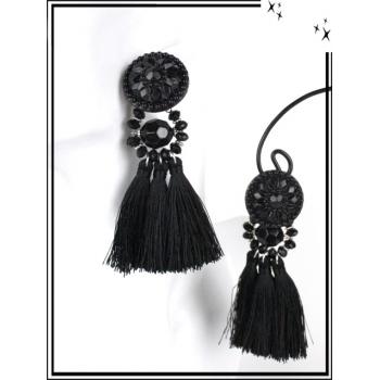 Boucles d'oreilles - Résine - Perles - Pompons - Noir