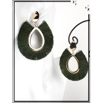 Boucles d'oreilles - Résine - Gouttes - Poils - Doré / Kaki