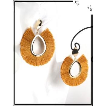 Boucles d'oreilles - Résine - Gouttes - Poils - Doré / Moutarde