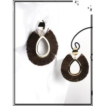 Boucles d'oreilles - Résine - Gouttes - Poils - Doré / Chocolat