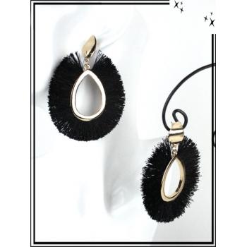 Boucles d'oreilles - Résine - Gouttes - Poils - Doré / Noir
