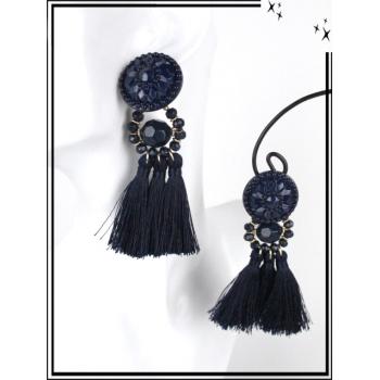 Boucles d'oreilles - Résine - Perles - Pompons - Bleu marine