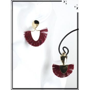 Boucles d'oreilles - Résine - Goutte - Pompons - Doré / Bordeaux