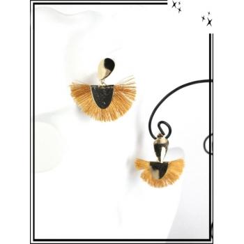 Boucles d'oreilles - Résine - Goutte - Pompons - Doré / Moutarde