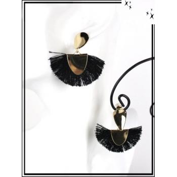 Boucles d'oreilles - Résine - Goutte - Pompons - Doré / Noir