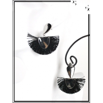 Boucles d'oreilles - Résine - Goutte - Pompons - Argent / Noir