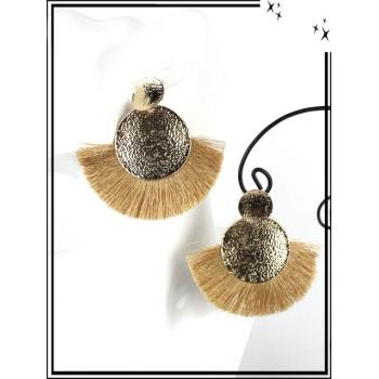 Boucles d'oreilles - Résine - Doubles ronds - Pompons - Doré / Moutarde