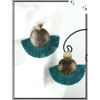 Boucles d'oreilles - Résine - Doubles ronds - Pompons - Doré / Vert d'eau