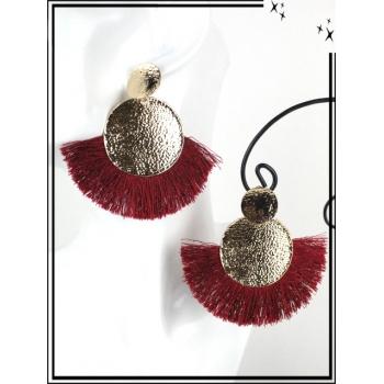 Boucles d'oreilles - Résine - Doubles ronds - Pompons - Doré / Bordeaux