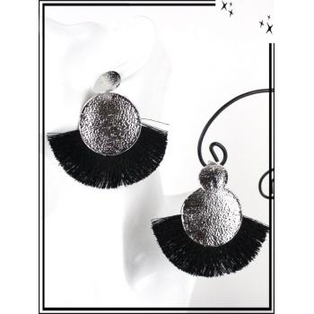 Boucles d'oreilles - Résine - Doubles ronds - Pompons - Argent / Noir