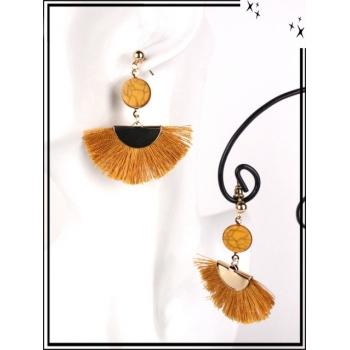 Boucles d'oreilles - Résine - Petit rond - Pompons - Moutarde