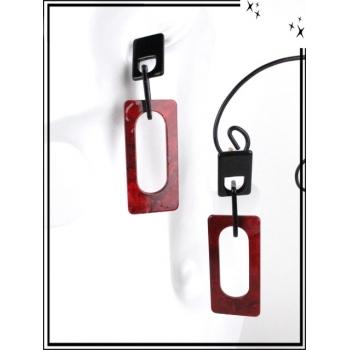 Boucles d'oreilles - Résine - Rectangle moucheté - Rouge