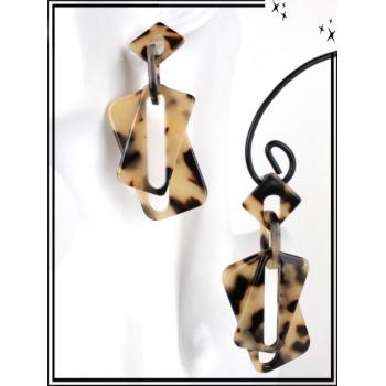 Boucles d'oreilles - Résine - Doubles rectangles mouchetés - Beige