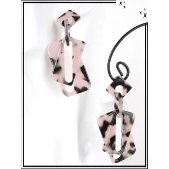 Boucles d'oreilles - Résine - Doubles rectangles mouchetés - Gris