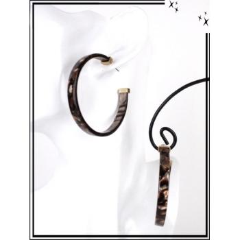 Boucles d'oreilles - Résine - Créole mouchetée - Marron