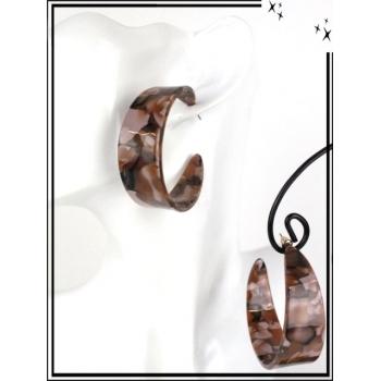 Boucles d'oreilles - Résine - Créole mouchetée - Large - Marron