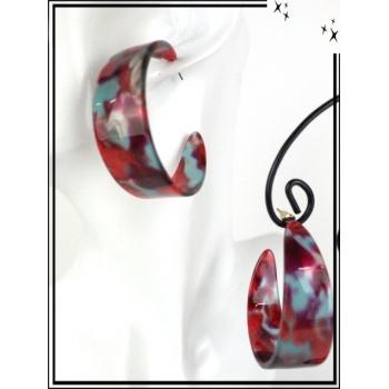 Boucles d'oreilles - Résine - Créole mouchetée - Large - Rouge