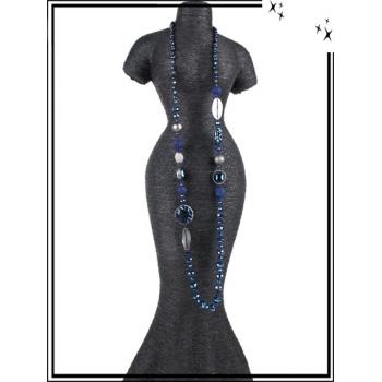 Sautoir - Ronds - Perles à facettes - Bleu