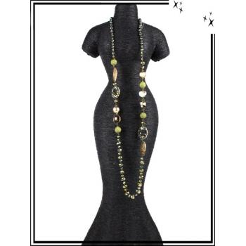 Sautoir - Ronds - Perles à facettes - Kaki