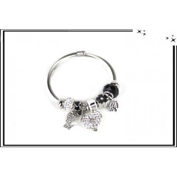 Bracelet - Charms - Strass - Coeur - Argent / Noir