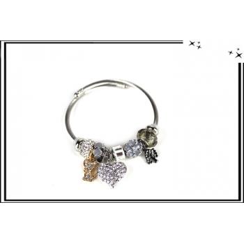 Bracelet - Charms - Strass - Coeur - Argent / Gris / Doré
