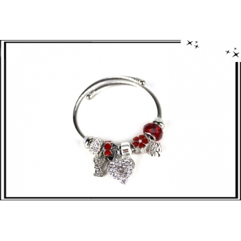 Bracelet - Charms - Strass - Coeur - Argent / Rouge