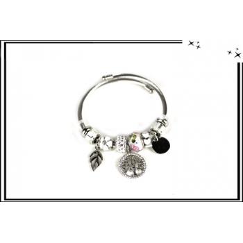 Bracelet - Charms - Arbre de vie - Strass - Argent