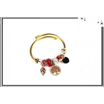 Bracelet - Charms - Arbre de vie - Strass - Doré / Rouge