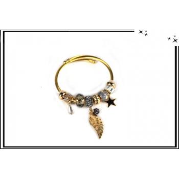 Bracelet - Charms - Ailes - Etoiles - Doré / Gris