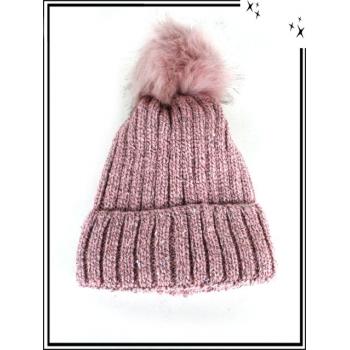 Bonnet - Doublé polaire - Sequin - Rose chiné noir