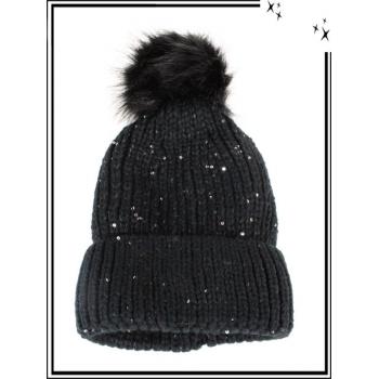 Bonnet - Doublé polaire - Sequin - Noir
