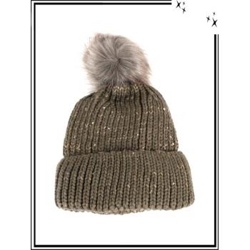 Bonnet - Doublé polaire - Fils brillants - Taupe