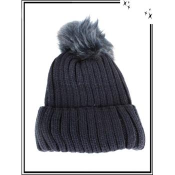 Bonnet - Doublé polaire - Mailles serrées - Bleu marine