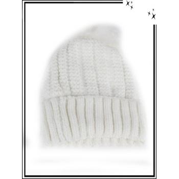 Bonnet - Doublé polaire - Mailles serrées - Tressé - Blanc