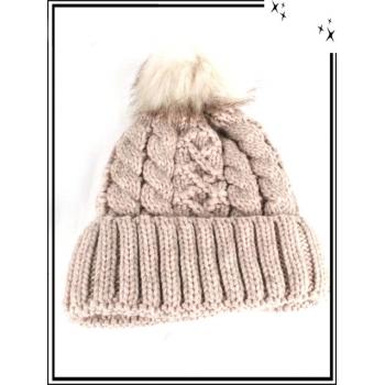 Bonnet - Doublé polaire - Mailles serrées - Entrelacé - Crème