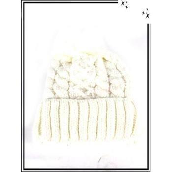 Bonnet - Doublé polaire - Mailles serrées - Entrelacé - Blanc