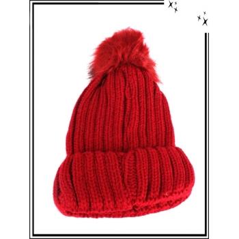 Bonnet - Mailles serrées - Rouge