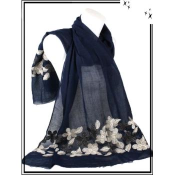 Foulard / Etole - Fleurs dorées et noires - Fond bleu marine